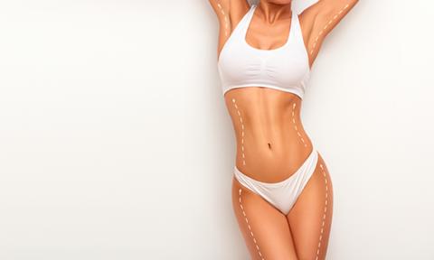 Cirurgia Plástica. foto com o corpo de uma modelo de biquíni branco