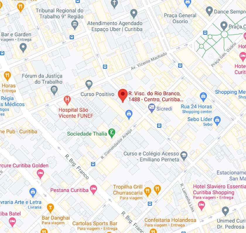 Mapa com o endereço da Competenza Medicina Especializada