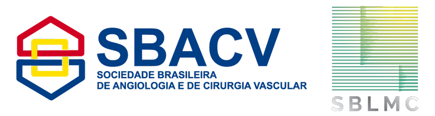 Logos das Sociedade Brasileira de Angiologia e Cirurgia Vascular e Sociedade Brasileira de Laser em Medicina e Cirurgia